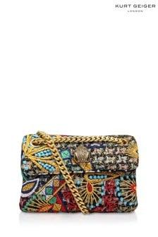 Kurt Geiger London Red Tweed Mini Kensington Fabric Bag
