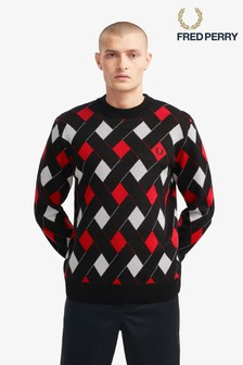 Fred Perry Jacquard Crew Neck Jumper