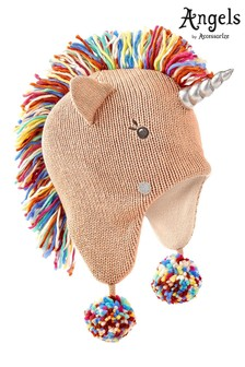 Angels by Accessorize Pink Unicorn Rainbow Mane Chullo Hat