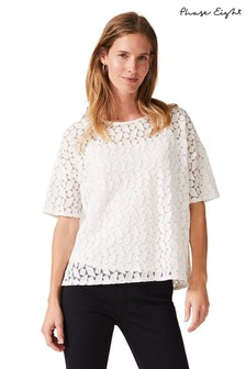 Phase Eight Cream Rio Geo Textured Lace Top