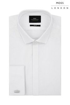 Moss London White Extra Slim Fit Dobby Dress Shirt