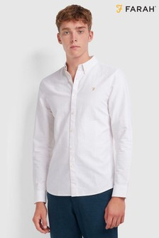 Farah Cotton Oxford Brewer Striped Shirt With Embroidered Chest Placement Logo