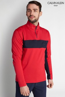 Calvin Klein Golf Red Embossed Half Zip Top