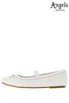 Angels by Accessorize White Sparkle Bow Scalloped Ballerinas