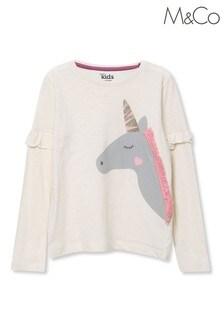 M&Co Cream Unicorn Embellished Fringe Top