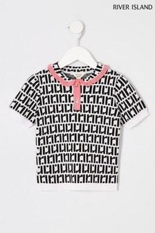 River Island White Mono Print Polo T-Shirt