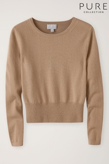 Pure Collection Tan Cashmere Cropped Sweater