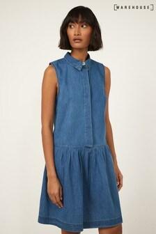 Warehouse Blue Drop Hem Dress