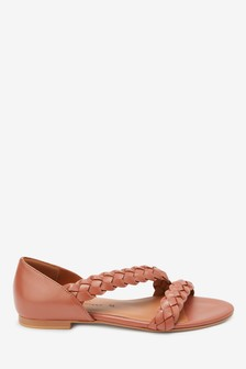 Leather Plaited Peep Toe Shoes