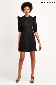 Whistles Black Frill Broderie Dress