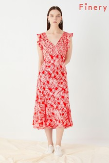 Finery London Orange Messina Tea Dress With Ruffle Sleeves
