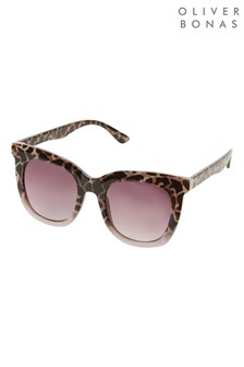 Oliver Bonas Purple To Lilac Tortoiseshell Effect D Frame Sunglasses