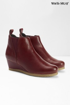 White Stuff Red Issy Leather Ankle Boots