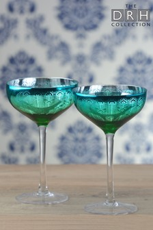 Set of 2 Peacock Champagne Saucers By The DRH Collection