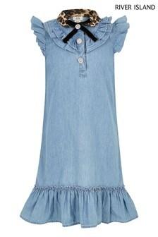 שמלת ג'ינס עם קולר בהדפס מנומר של River Island