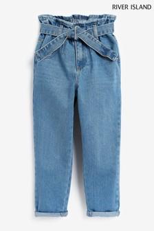 River Island Denim Medium Wash Paperbag Jeans