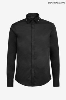 Emporio Armani Black Shirt With Logo Collar
