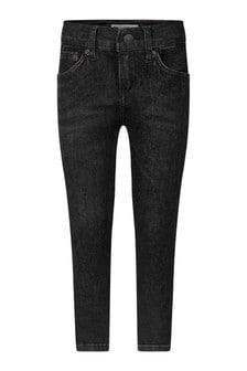 Boys Black Cotton Skinny Taper Jeans