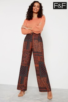 F&F Multi Patchwork Paisley Wide Leg Trousers