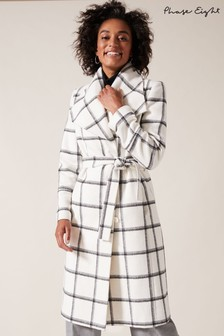 Phase Eight Cream Nicci Check Coat