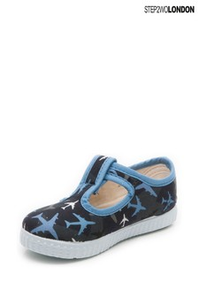 Step2wo Blue Mitch 2 Canvas T-Bar Shoes