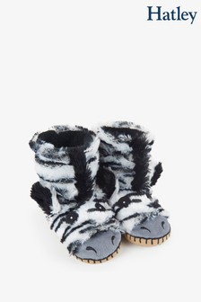 Hatley Kids White Zebra Slippers