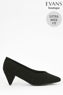 Evans Black Extra Wide Fit Cone Heel Court Shoes