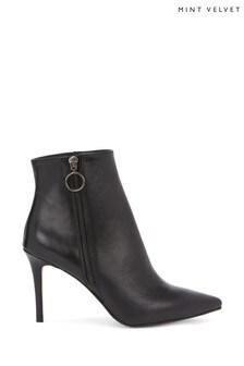 Mint Velvet Sally Black Leather Boots