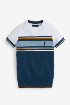 Textured Knitted Chest Stripe T-Shirt (3-16yrs)