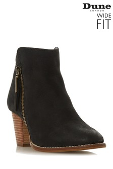 Dune London Black Ponntoon Wide Fit Side Zip Ankle Boots