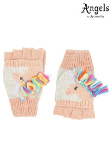Angels by Accessorize Pink Unicorn Rainbow Mane Capped Mittens