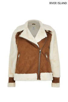 River Island Tan Maverick Shearling Aviator Coat