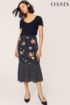 Oasis Black Avery Patch Print Skirt