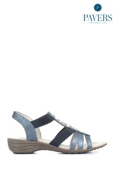 Pavers Blue/Navy Ladies Embellished Slingback Sandals