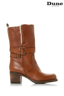 Dune London Rokoko Tan Leather Faux Fur Lined Buckle Boots
