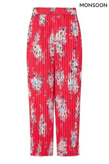 Monsoon Red Floral Pleated Trousers