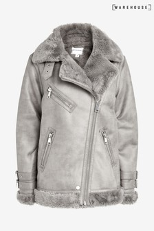 Warehouse Grey Suedette Oversized Aviator Coat