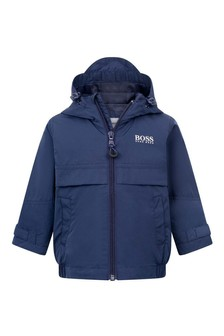 Baby Boys Blue Hooded Logo Jacket