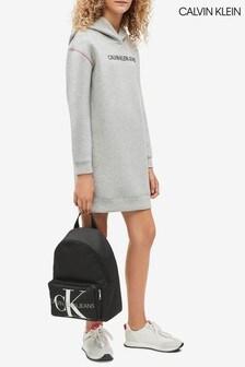 Calvin Klein Grey Jeans Scuba Hoody Dress