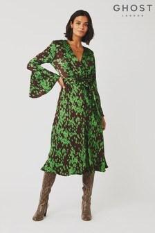 Ghost London Green Annabelle Sindy Scatter Satin Dress
