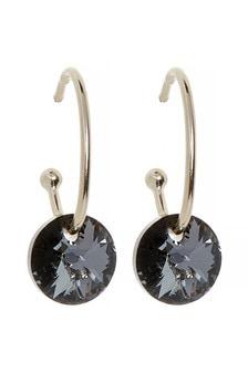 18 Carat Gold Plate Hoop Earrings With Swarovski® Crystals