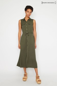 Warehouse Green Textured Midi Shirt Dress