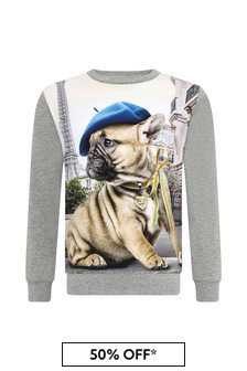 Molo Girls Grey Cotton Sweatshirt