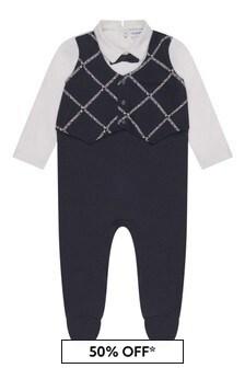 Boys Navy Cotton Waistcoat Babygrow