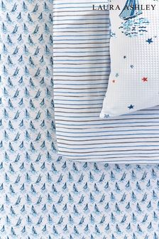 Set of 2 Ahoy Ahoy Nautical Boats Organic Cotton Fitted Sheets