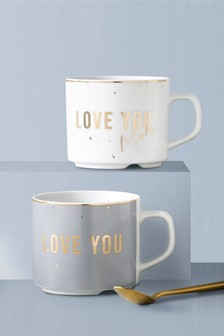 Set of 2 Stacking Love You Mugs