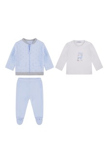 Baby Boys Blue Cotton 3 Piece Trousers Set