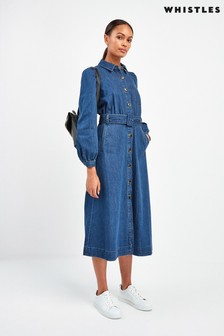 Whistles Denim Midi Shirt Dress