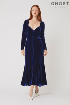 Ghost London Sydney Cobalt Blue Silk Velvet Dress