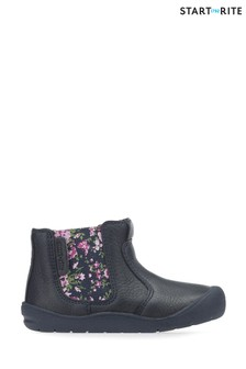 Start-Rite Blue Leather Chelsea Floral First Boots